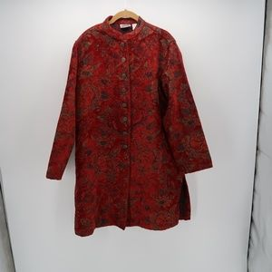Chico's Red Floral Button Front Blazer Jacket